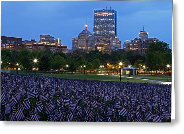 Garden Of American Flags In The Boston Common Greeting Card by Juergen Roth