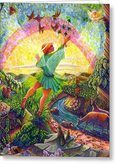 Toddlers Poster Greeting Cards - Garden of Eden Angel Greeting Card by Jacquelin Vanderwood