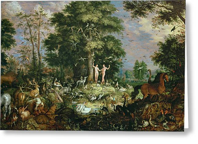 Eve Greeting Cards - Garden Of Eden Greeting Card by Roelandt Jacobsz Savery
