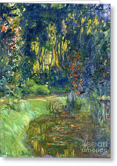 Pond.  Greeting Cards - Garden of Giverny Greeting Card by Claude Monet