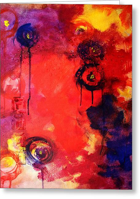 Abstract Expression Greeting Cards - Garden of Good and Evil Greeting Card by Nancy Merkle