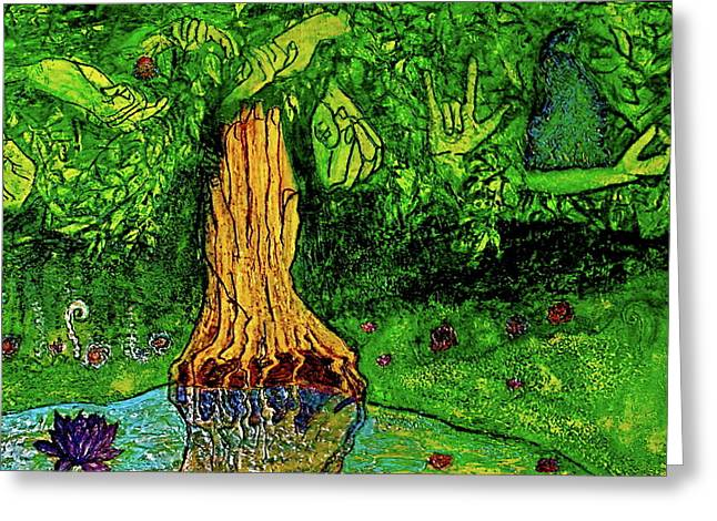Praying Hands Mixed Media Greeting Cards - Garden of Intent Eden for Pandemonium Greeting Card by D Renee Wilson