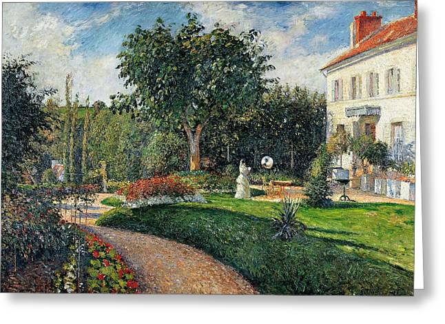 Contemporary Age Greeting Cards - Garden of les Mathurins at Pontoise Greeting Card by Camille Pissarro