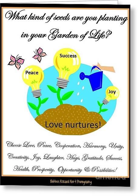 Garden Of Life Greeting Card by Bobbee Rickard
