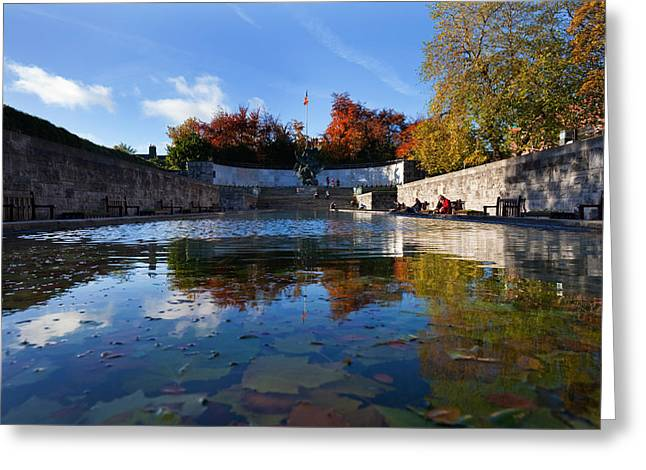 Colors Of Autumn Greeting Cards - Garden Of Remembrance, Parnell Square Greeting Card by Panoramic Images