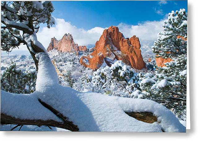 Manitou Springs Greeting Cards - Garden of the Gods after a Snow Greeting Card by John Hoffman