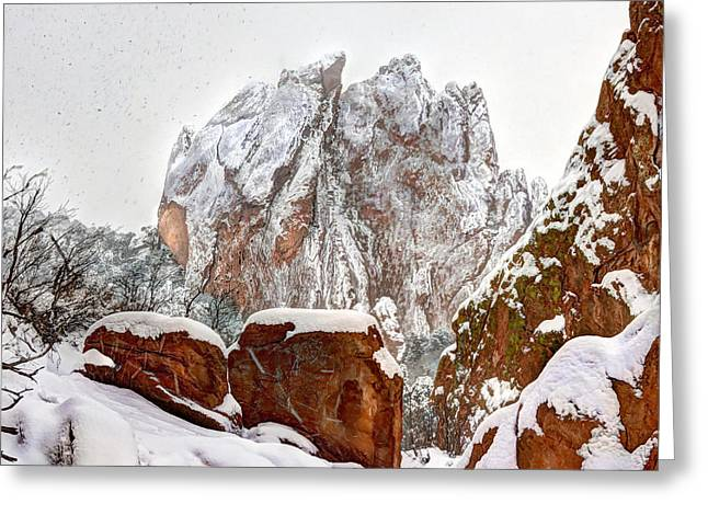 God Pyrography Greeting Cards - Garden of the Gods  Greeting Card by Brett and William Noble Scherer