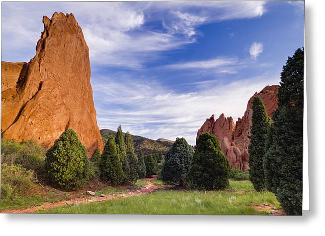 The Sun God Greeting Cards - Garden of the Gods Greeting Card by Kyle Wasielewski