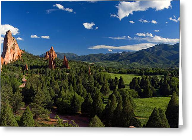 Road Trip Greeting Cards - Garden of the Gods Panorama at its Best Greeting Card by John Hoffman
