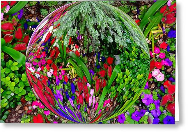 Distortion Mixed Media Greeting Cards - Garden Orb Greeting Card by Dan Sproul