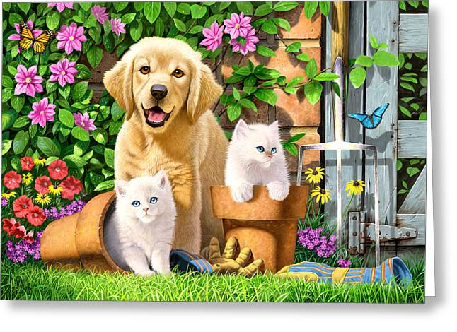 Domestic Animal Greeting Cards - Garden Pals Greeting Card by Chris Heitt