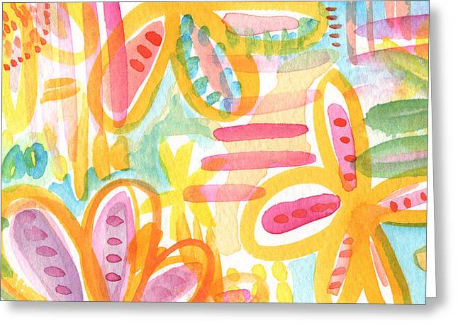 Flowers Gifts Greeting Cards - Garden Party- Abstract flower painting Greeting Card by Linda Woods