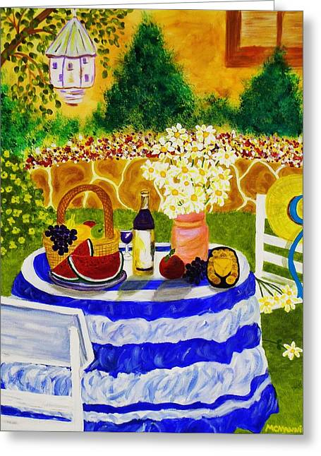 Fruit And Wine Greeting Cards - Garden Party Greeting Card by Celeste Manning