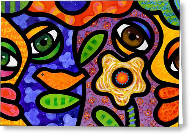 Abstract Faces Greeting Cards - Garden Party Greeting Card by Steven Scott