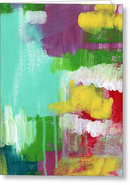 Color Colorful Mixed Media Greeting Cards - Garden Path- Abstract Expressionist Art Greeting Card by Linda Woods