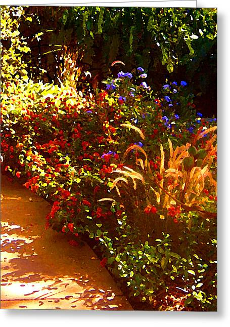 Flower Garden Greeting Cards - Garden Pathway Greeting Card by Amy Vangsgard