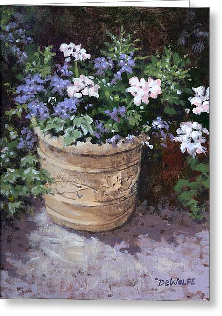 Garden Planter Greeting Card by Richard De Wolfe