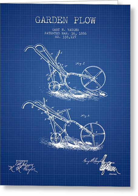 Plows Greeting Cards - Garden Plow Patent from 1886 - Blueprint Greeting Card by Aged Pixel