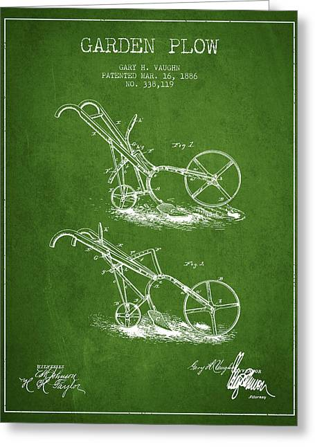 Plows Greeting Cards - Garden Plow Patent from 1886 - Green Greeting Card by Aged Pixel
