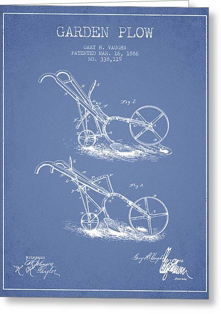 Plows Greeting Cards - Garden Plow Patent from 1886 - Light Blue Greeting Card by Aged Pixel