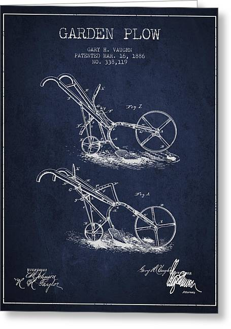 Plows Greeting Cards - Garden Plow Patent from 1886 - Navy Blue Greeting Card by Aged Pixel