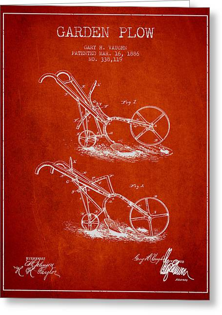 Plows Greeting Cards - Garden Plow Patent from 1886 - Red Greeting Card by Aged Pixel