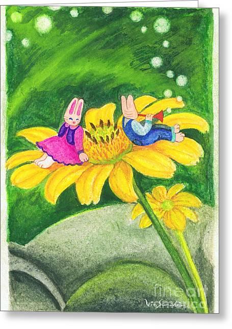 Vin Kitayama Greeting Cards - Garden Rabbit17 Heliopsis Greeting Card by Vin Kitayama