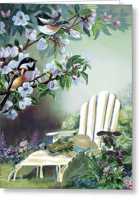 Hats Print Greeting Cards - Garden scene chickadees in blossum tree Greeting Card by Gina Femrite