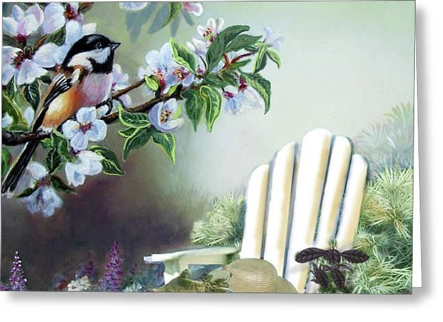 Garden scene chickadees in blossum tree Greeting Card by Gina Femrite