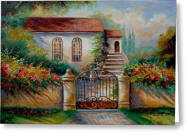 Garden Scene With Villa And Gate Print Greeting Cards - Garden scene with villa and gate Greeting Card by Gina Femrite