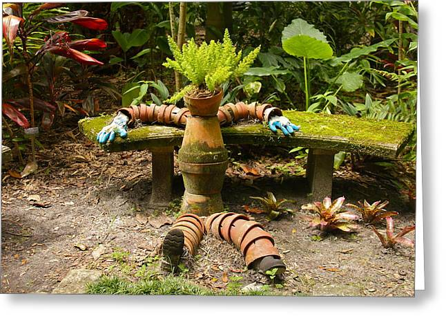 Potting Bench Greeting Cards - Garden Sculpture Greeting Card by Denise Mazzocco