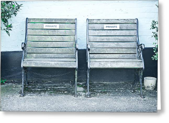 Reserve Greeting Cards - Garden seats Greeting Card by Tom Gowanlock
