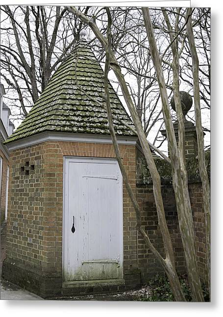 Garden Statuary Greeting Cards - Garden Shed Colonial Williamsburg Greeting Card by Teresa Mucha