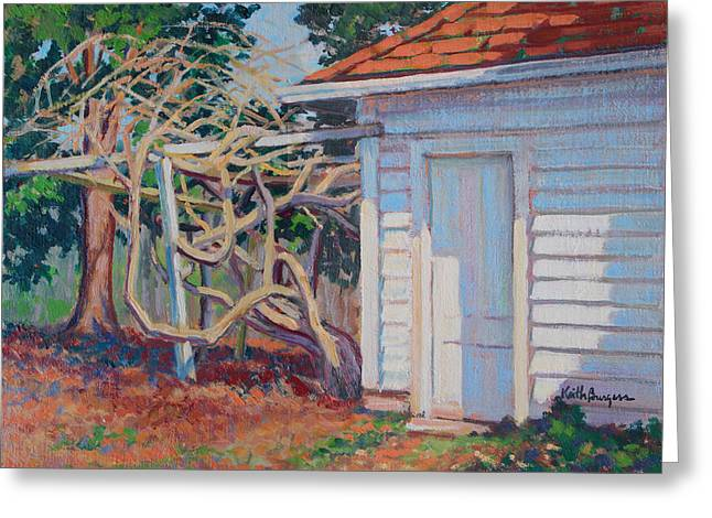 Clapboard House Paintings Greeting Cards - Garden Shed Greeting Card by Keith Burgess