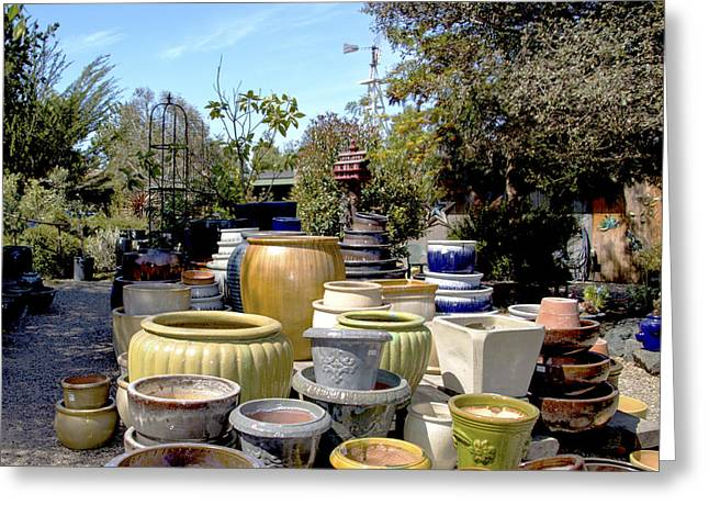 Original Pottery Greeting Cards - Garden Shoppe 2 At Windmill Farms Greeting Card by Barbara Snyder