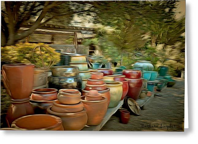 Original Pottery Greeting Cards - Garden Shoppe At Windmill Farms 2 Greeting Card by Barbara Snyder