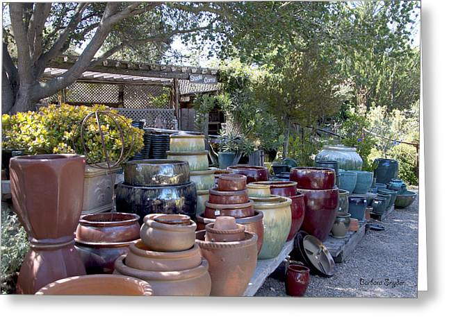 Original Pottery Greeting Cards - Garden Shoppe At Windmill Farms Greeting Card by Barbara Snyder