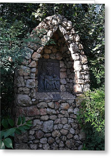 Wayside Cross Greeting Cards - Garden Shrine - 13th Station of the Cross Greeting Card by Michele Myers