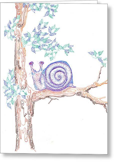 Garden Snail Greeting Card by Regina Valluzzi