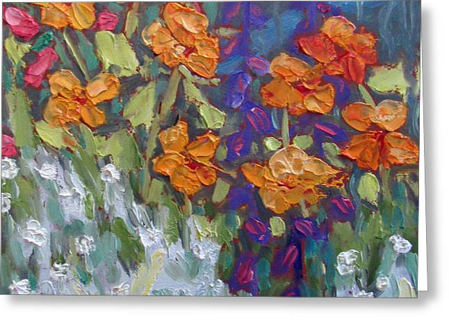 Pallet Knife Greeting Cards - Garden Snippet Greeting Card by Susan  Spohn