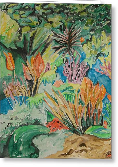 Live Art Greeting Cards - Garden Splendor Greeting Card by Esther Newman-Cohen