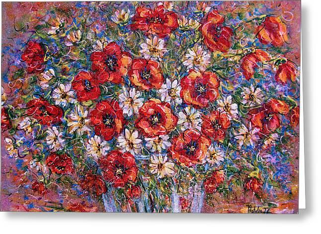 Glass Vase Greeting Cards - Garden Splendor Greeting Card by Natalie Holland