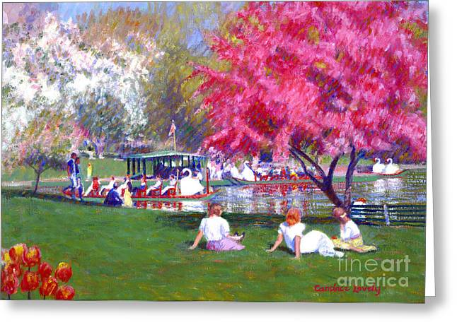 Swans... Greeting Cards - Garden Springtime Greeting Card by Candace Lovely