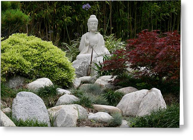 Peace Square Format Greeting Cards - Garden Statue Greeting Card by Art Block Collections