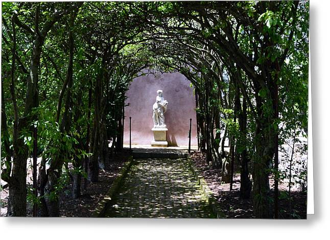 Pause Greeting Cards - Garden Statue Greeting Card by Mike Finkelstein