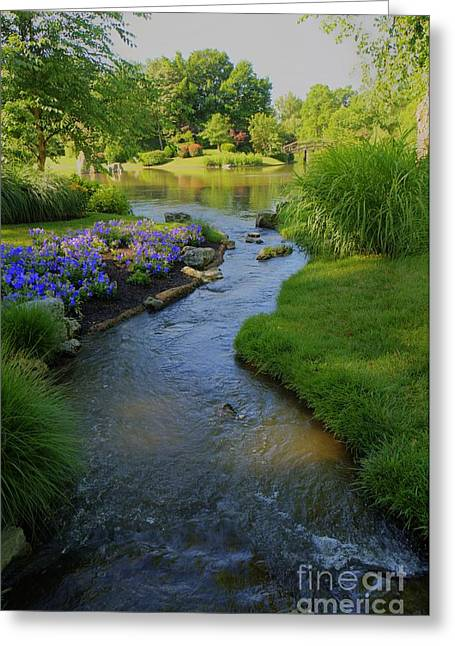 Kansas City Photographer Greeting Cards - Garden Stream HDR #9795 Greeting Card by Crystal Nederman