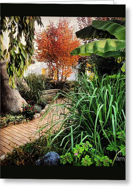 A Stroll Through The Garden Greeting Card by Angela Rath