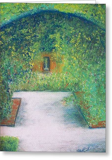 Trellis Pastels Greeting Cards - Garden Stroll Greeting Card by Margie Ridenour