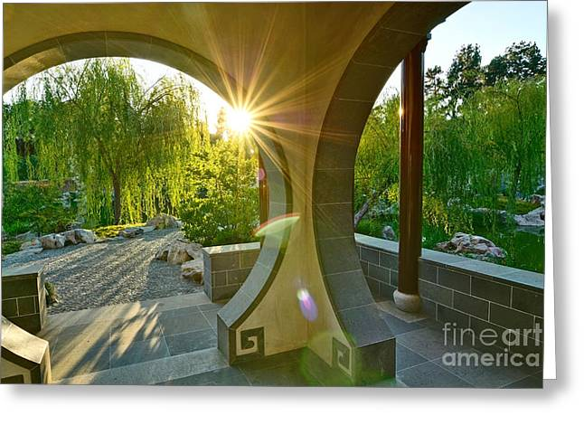 Burst Greeting Cards - Garden Sun - Beautiful Chinese Garden at the Huntington Library. Greeting Card by Jamie Pham