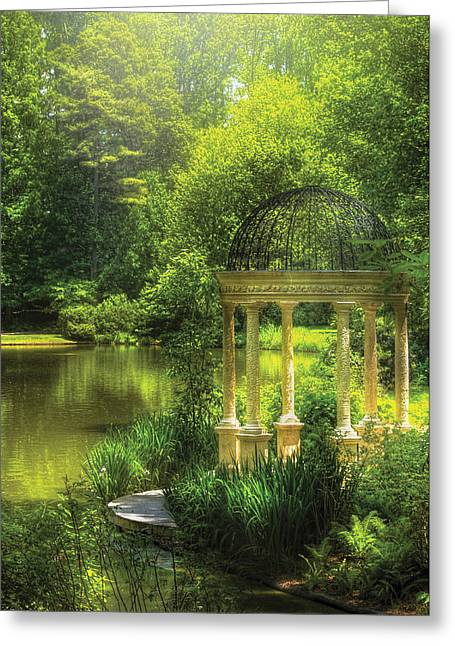Hazy Days Greeting Cards - Garden - The Temple of Love Greeting Card by Mike Savad